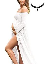 BUOYDM Mujer Embarazada Chifón Largos Vestido de Fiesta Foto Shoot Dress Fotográficas de Maternidad Apoyos De Fotografía