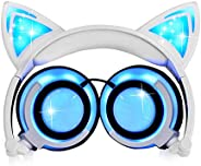 Kids Headphones Cat Ear Foldable Over/On Ear Headsets with LED Light Rechargeable 85dB Gift for Kid Adult