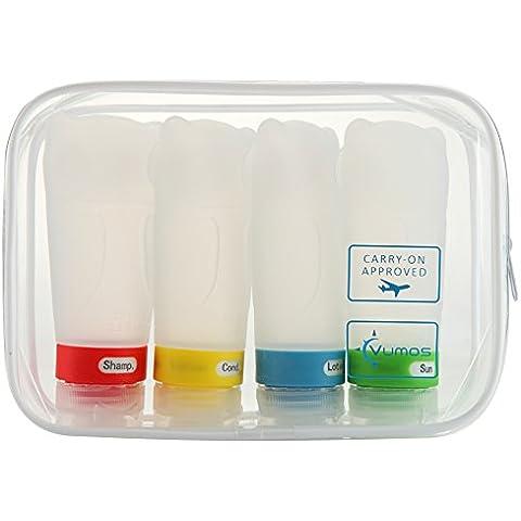 Conjunto de Cuatro Botellas para Viajes de 2.8oz (83ml) Botellas de Silicona a Prueba de Fugas con Bolso Aprobado por