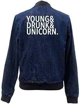 Young Drunk Unicorn Bomber Chaqueta Girls Jeans Certified Freak
