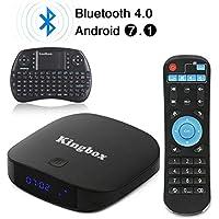 Kingbox - [2018 Dernière Version] K1 Plus Android 7.1 TV Box 2 GB RAM / 8 GB ROM Supporte Bluetooth 4.0 / H.265 / Penta-Core / 3D avec Mini Clavier sans Fil