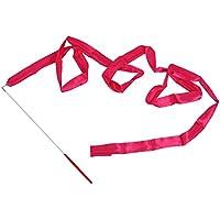 TOOGOO(R) Cinta de danza serpentina gimnasia ritmica varilla baston girando Fiesta Ano Nuevo Chino - Rosa roja