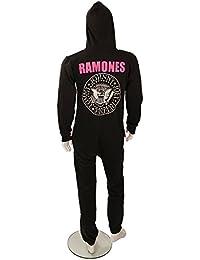 Creative Quirk Combinaison pour adulte Motif logo Ramones classique Noir/rose