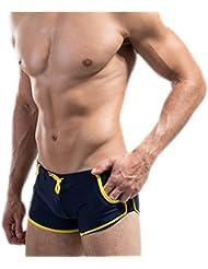 Zehui - Bañador corto con bolsillos y cierre de cordones para hombre