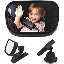WisFox Espejo del asiento trasero Espejo retrovisor del coche del bebé para el bebé y la mamá Vista trasera del revés Ajustable, convexo a prueba de rotura resistente a la rotura de vidrio y totalmente montado - Crash probado y certificado para la seguridad
