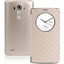 Estuche LG G4 , Estuche CHOETECH LG G4 Quick Circle Cargador Inalambrico Estuche Cargador Inalámbrico Qi , con Ventana de Despertarse/Dormir Inteligente – Soporta Funciones de Carga NFC e Inalámbrico (Dorado)