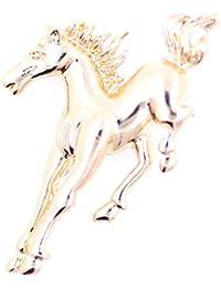 Lizzyoftheflowers–Lizzyoftheflowers. Tono de oro de caballo al galope/caballo broche, de cuento de hadas Fashion joyas