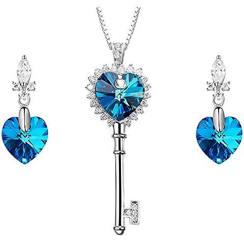 Sue's Secret Clave de Mi Sistema de la Joyería Corazón Deslumbrante Collar y Aretes de Corazón con Cristales de Swarovski