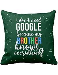 YaYa cafe Canvas Cotton Cushion Covers Google Brother (12X12 inches, Green) with Printed Rakhi, Roli Chawal