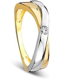 orovi Mujer Anillo de compromiso oro Jewels – Anillo anillo de diamante de 9 quilates (
