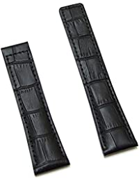 22/20 mm Watch Leather Straps Black/Beige Alligator Style with Black Stitching to Fit TAG HEUER