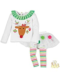 ABCone - Bambino Ragazzo delle 2 PCS Neonate Regalo di natale Top + Vestito  Abiti Pantaloni Natale Neonato Ragazza Ragazzo Bambina… d51551f16e6