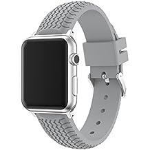 x-super iWatch banda 38mm Tire Tread deporte silicona Apple Watch Correas de goma para Nike +, Series 2, Series 1, Sport, Edition, color gris
