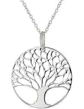 Bling Sterne versilbert Baum des Lebens Disk Kette Anhänger Halskette