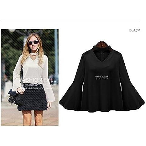 Base XJoel Donne modale maniche lunghe Loose Fit Breve confortevole tunica camicia nera XXXXL