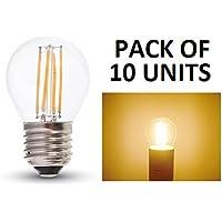 v-tac–Set di 10lampadine LED filamento G45Golf Ball–E27/ES/Edison a vite standard–4W–bianco caldo 2700K/finitura in vetro a incandescenza look/20,000ore di vita media/220–240V–300gradi di angolo/400lumen/dimmer/SKU: 4306x 10