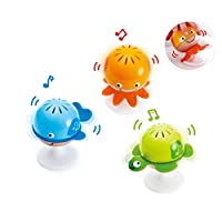 ‏‪Hape Put-Stay Rattle Set | Three Sea Animal Suction Rattle Toys, Baby Educational Toy Set‬‏