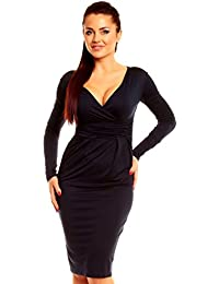 5d0f4c9d2 Zeta Ville De Las Mujeres Largo Manga Jersey Lápiz Casual Trabajo Oficina  Vestido 285z
