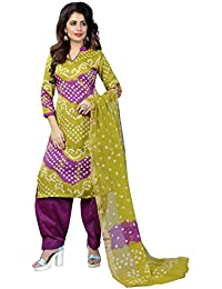Taboody Empire Comely Mahendi & Purple Satin Cotton Handi Crafts Bandhani Work With Straight Salwar Suit For Girls...