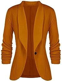 13ea65343 Socluer Women's Basic Vest Elegant Chic Blazers Slim Fit Office Suit  Cardigan Draped Lapel Coat with