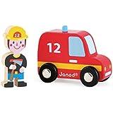 Janod - Story Set, coche de bomberos y bombero de madera (J08568)
