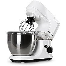 Klarstein Carina Bianca robot de cocina (1.1 HP, recipiente de acero inoxidable de 4 l, 3 accesorios para batir y amasar) - blanco