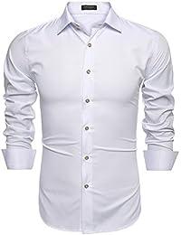 CRAVOG 2016 Chemise Homme Slim Fit Cintré Manches Longues Blouse Haut Shirt  Classique Business Mariage  43a2f5c0c4f