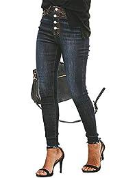 c69efd382c GZYD Jeans de Mujer El botón Se ve Delgada Slim Fit Cintura Media Azul  Oscuro Azul