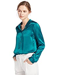 036b76ac816337 LILYSILK Women s 100 Charmeuse Silk Blouse for Lady Long Sleeve Top 22  Momme Pure Silk