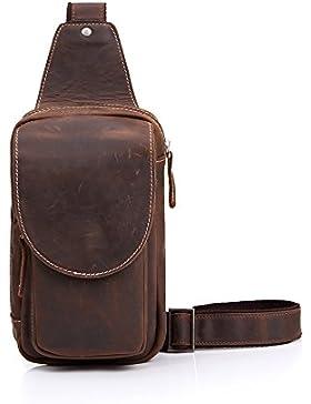 Nameblue Herren Brusttasche Echte Leder Sling Rucksack Sling Bag Umhängetasche Crossbody Bag Schultertasche Retro
