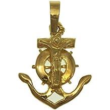 Cruz marinera tamaño pequeño en oro amarillo de 18 quilates