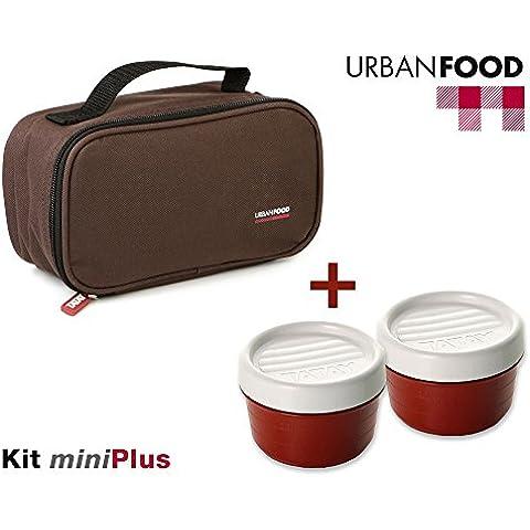 TATAY Urban Food MiniPlus Marrón - Bolsa Térmica Porta Alimentos con 3 Tápers Herméticos Incluidos, 1 Ovalado de 0.5L más 2 Redondos de 0.2L, Color Marrón, Medidas 21.5 x 9 x 12 cm
