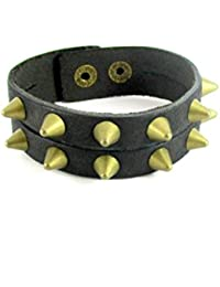 Streetsoul Spiked Double Trouble Worn Out Look Black Leather Bracelet Wrist Band For Men.