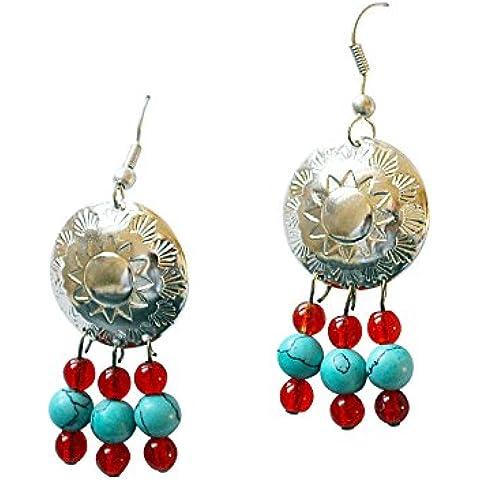 Orecchini in argento Sterling 925 con turchese perline nel vero indiano gioielli