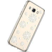 Handytasche Samsung Galaxy J7 2016 Weihnachten Handyhülle Durchsichtig Schutzhülle Silikon Dünn Case Transparent Handyhüllen Kirstall Clear Case Etui TPU Bumper Schale,Schneeflocke