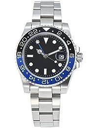 PARNIS 2034-BB GMT - Reloj automático para Hombre, Acero Inoxidable, Cristal de