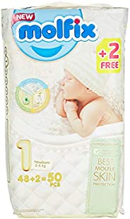 Molfix Anti Leakage Comfortable Newborn Baby Diapers, 2-5 kg, 50 Count