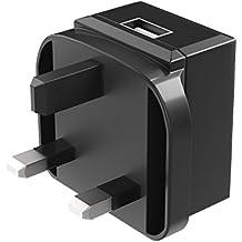 Cargador de pared USB (enchufe UK), Fosmon UK 3 Prong Tipo G Plug Adaptador de corriente 1 puerto USB 2A, carga rápida para iPhone, iPad, Samsung Galaxy, Moto, LG, Smartphone, Tablet y más