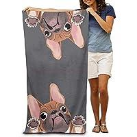 Funlery Happ Toallas de Playa Grandes, Toallas de baño, diseño de Bulldog francés,