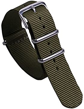 18mm Armee grün Deluxe lässig strapazierfähiges Nylon NATO-Stil Uhrenarmbänder Bänder Ersatz für Männer