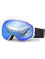 Gafas de esquí, Hicool No tiene otros Bordes Super Larga Vista con Lentes de Italia-Anti -Niebla UV Lentes Descargables y esféricas para proteger los Ojos (blanco/azul)