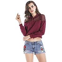 WYIZ Primavera Y Otoño Informal Suelta De Manga Corta con Capucha Suelta Gasa Sudadera Corta Camiseta Femenina, Vino Tinto, S
