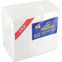 Serviette blanche - 30 x 30 cm - 2 plis - Vendu par 100
