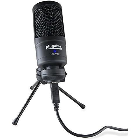Micrófono de condensador cardioid Plugable USB con nivel ultrabajo de ruido autógeno de dirección lateral, compatible con Windows, OS X y Linux