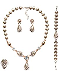 4 En 1 De Oro Chapado Rhinestone Collar Pulsera Conjunto De Pendientes Anillo De La Joyeria