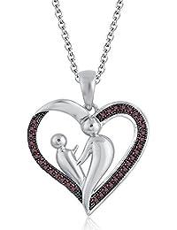 Silvernshine 9K White Gold FN Red Garnet Sim Diamond Accent Mother & Child Heart Pendant Necklace