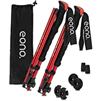 EONO Adjustable Trekking Poles – Collapsible, Foldable,Lightweight, Strong, Aluminum 7075 Hiking, Walking & Running Sticks with Quick Locks, 4 Season/All Terrain Accessories and Carry Bag