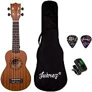 "JUAREZ Etéreo 21"" Soprano Ukulele, Sapele Top & Body, Aquila Italian Strings, Black Diecast Machine,"