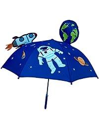 HECKBO 3D Kinder Regenschirm Weltraum Space Astronaut | mit Rakete, Erde, Planeten, Satellit mit Sichtfenster | Sonnenschirm für Jungen und Mädchen | Umbrella für Schulkinder Kindergartenkinde
