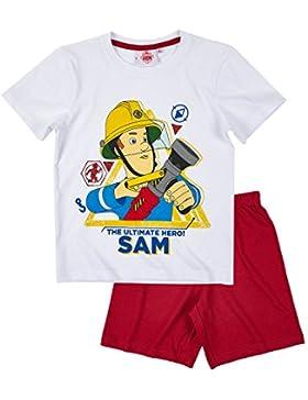 Sam el bombero Chicos Pijama Mangas Cortas - Blanco